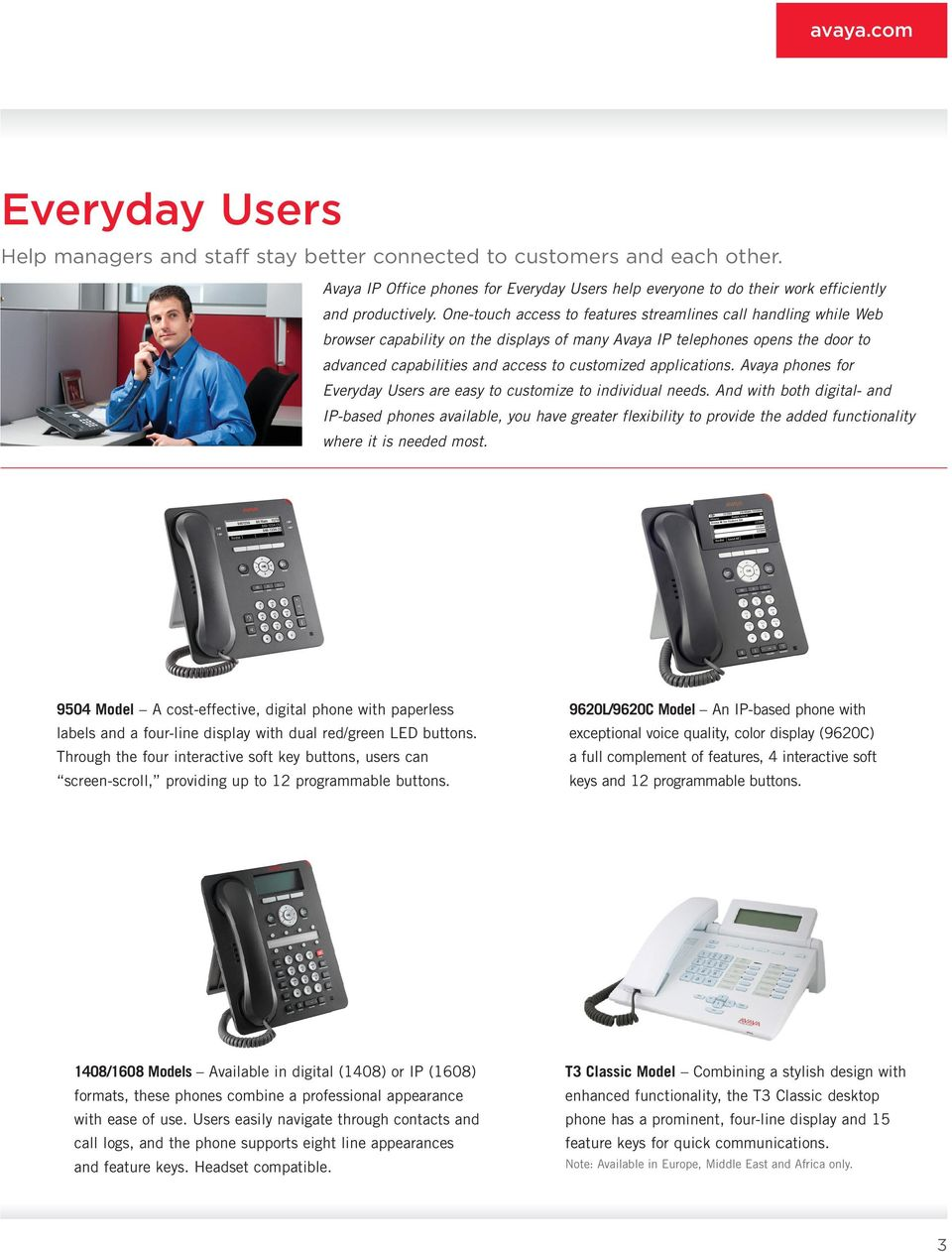 applications. Avaya phones for Everyday Users are easy to customize to individual needs.