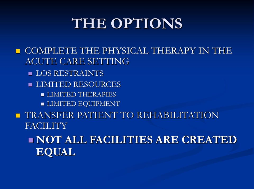 THERAPIES LIMITED EQUIPMENT TRANSFER PATIENT TO