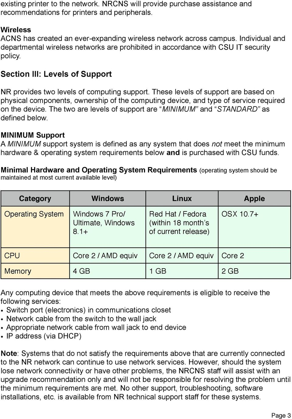 These levels of support are based on physical components, ownership of the computing device, and type of service required on the device.