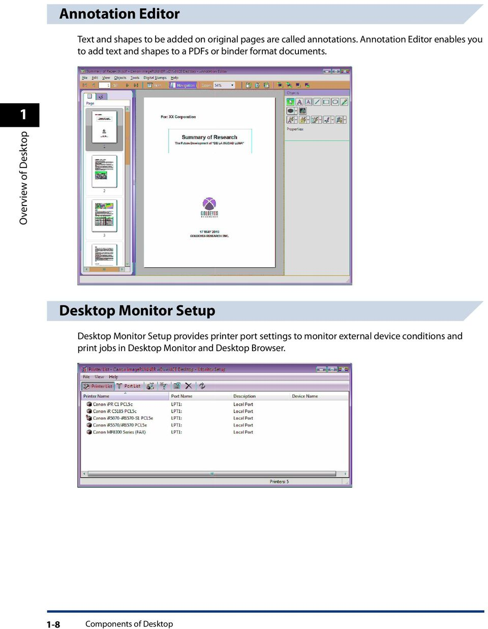 1 Overview of Desktop Desktop Monitor Setup Desktop Monitor Setup provides printer port settings