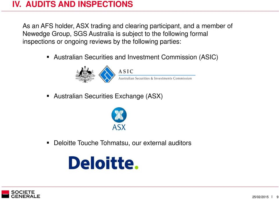 ongoing reviews by the following parties: Australian Securities and Investment Commission