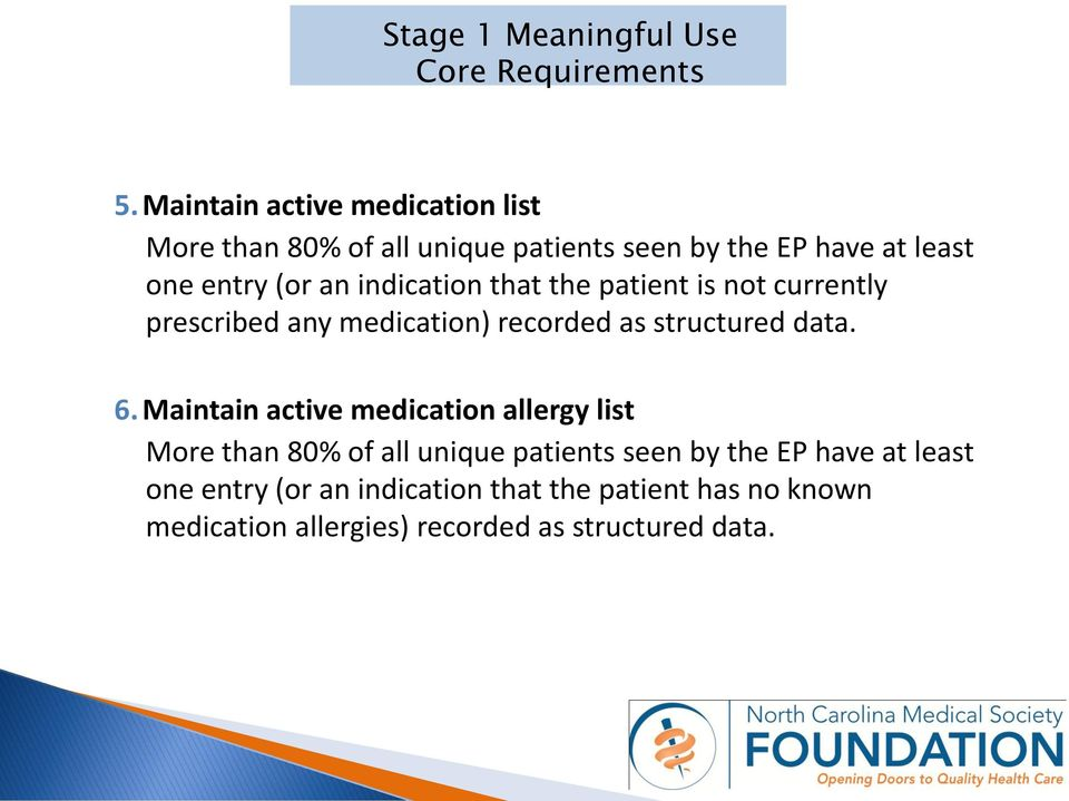 an indication that the patient is not currently prescribed any medication) recorded as structured data. 6.