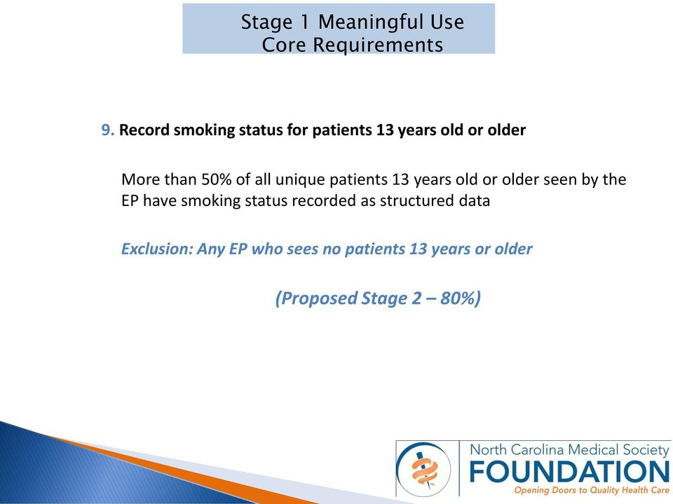 50% of all unique patients 13 years old or older seen by the EP have