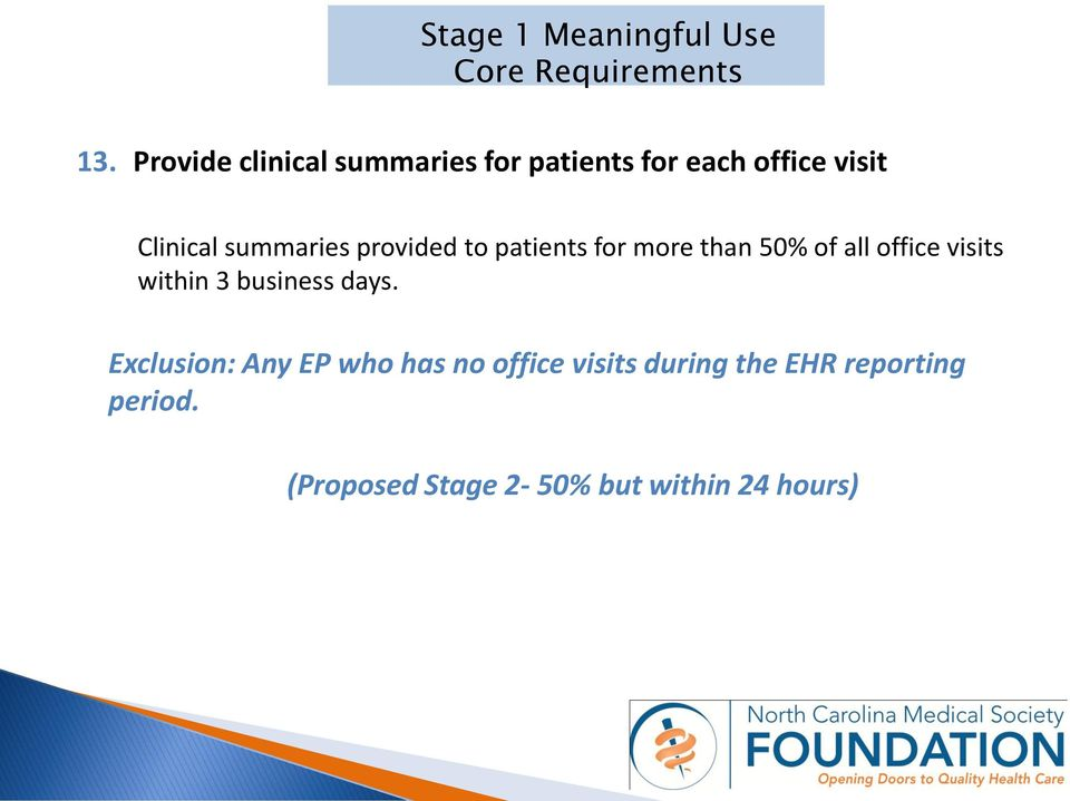 summaries provided to patients for more than 50% of all office visits within