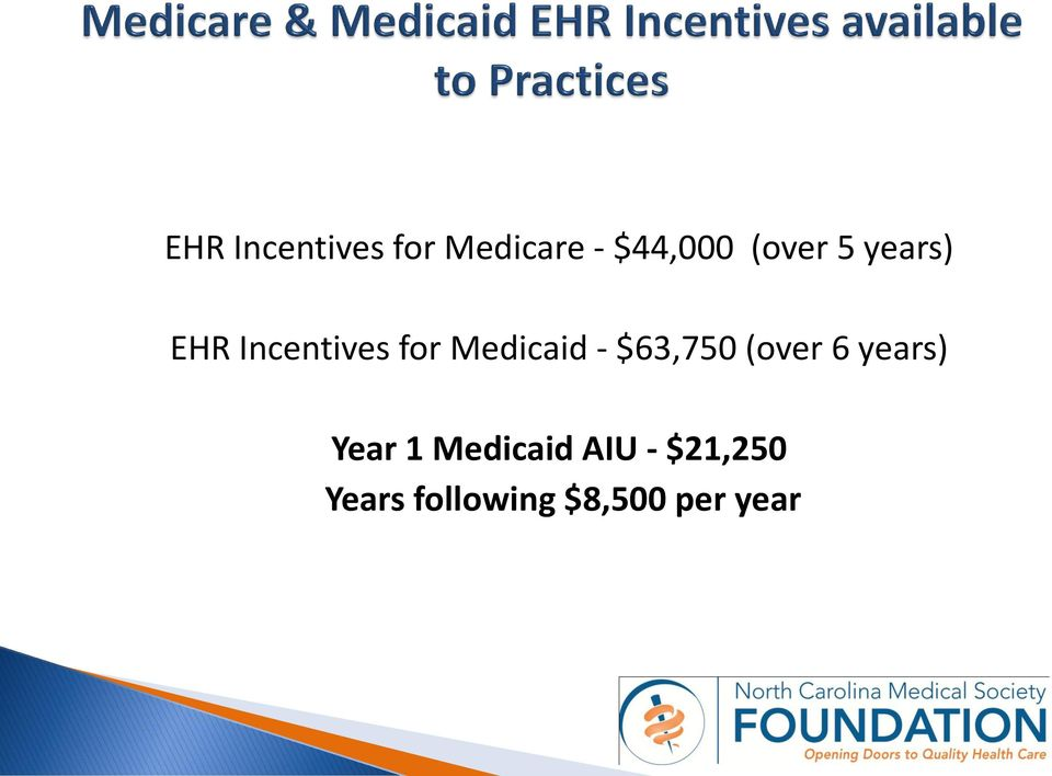 Medicaid - $63,750 (over 6 years) Year 1