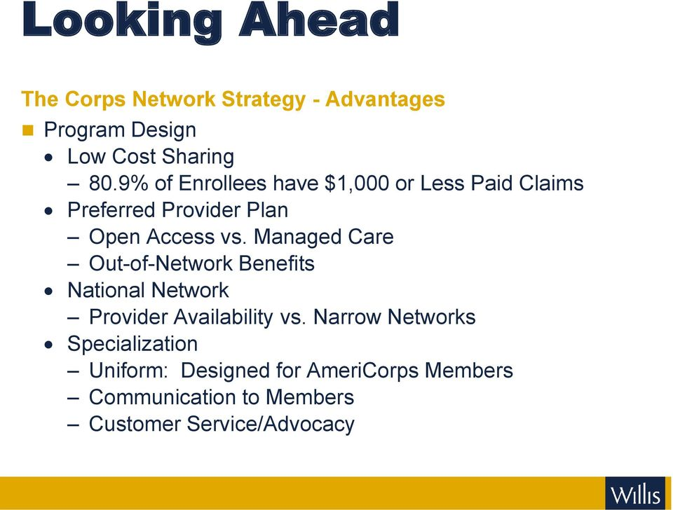 Managed Care Out-of-Network Benefits National Network Provider Availability vs.