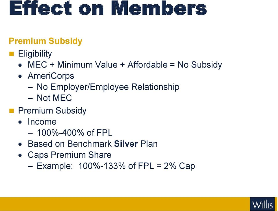 Relationship Not MEC Premium Subsidy Income 100%-400% of FPL Based