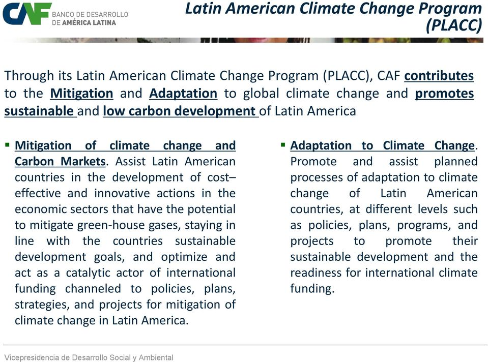 Assist Latin American countries in the development of cost effective and innovative actions in the economic sectors that have the potential to mitigate green-house gases, staying in line with the