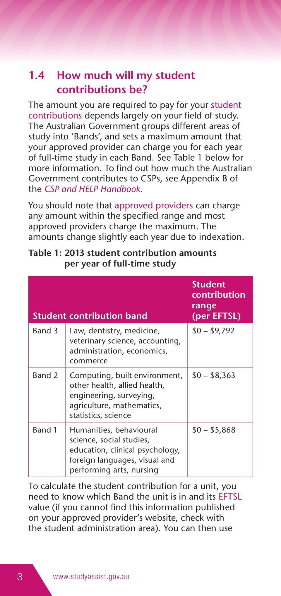 See Table 1 below for more information. To find out how much the Australian Government contributes to CSPs, see Appendix B of the CSP and HELP Handbook.