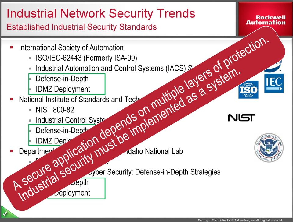 Industrial Automation and Control Systems (IACS) Security Defense-in-Depth IDMZ Deployment National Institute of Standards and Technology NIST 800-82