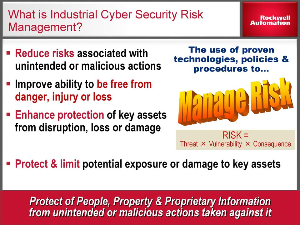 key assets from disruption, loss or damage The use of proven technologies, policies & procedures to RISK = Threat Vulnerability Consequence