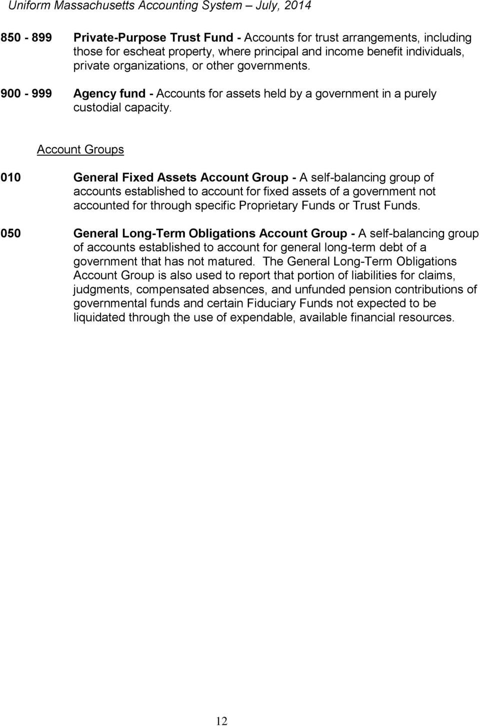 Account Groups 010 General Fixed Assets Account Group - A self-balancing group of accounts established to account for fixed assets of a government not accounted for through specific Proprietary Funds