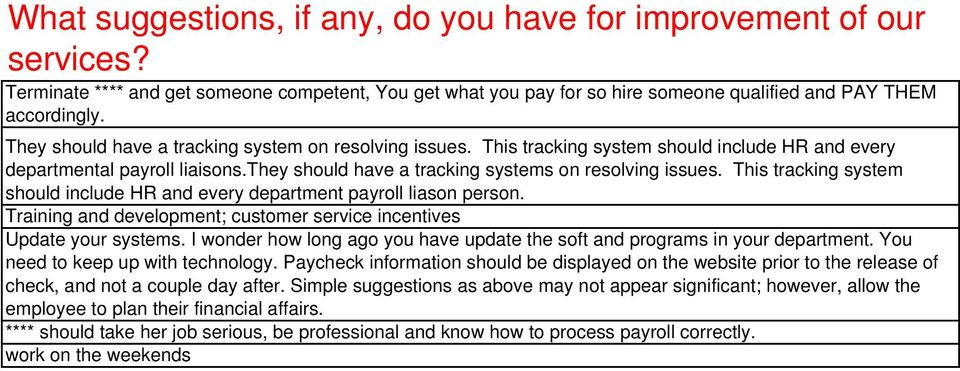 This tracking system should include HR and every department payroll liason person. Training and development; customer service incentives Update your systems.