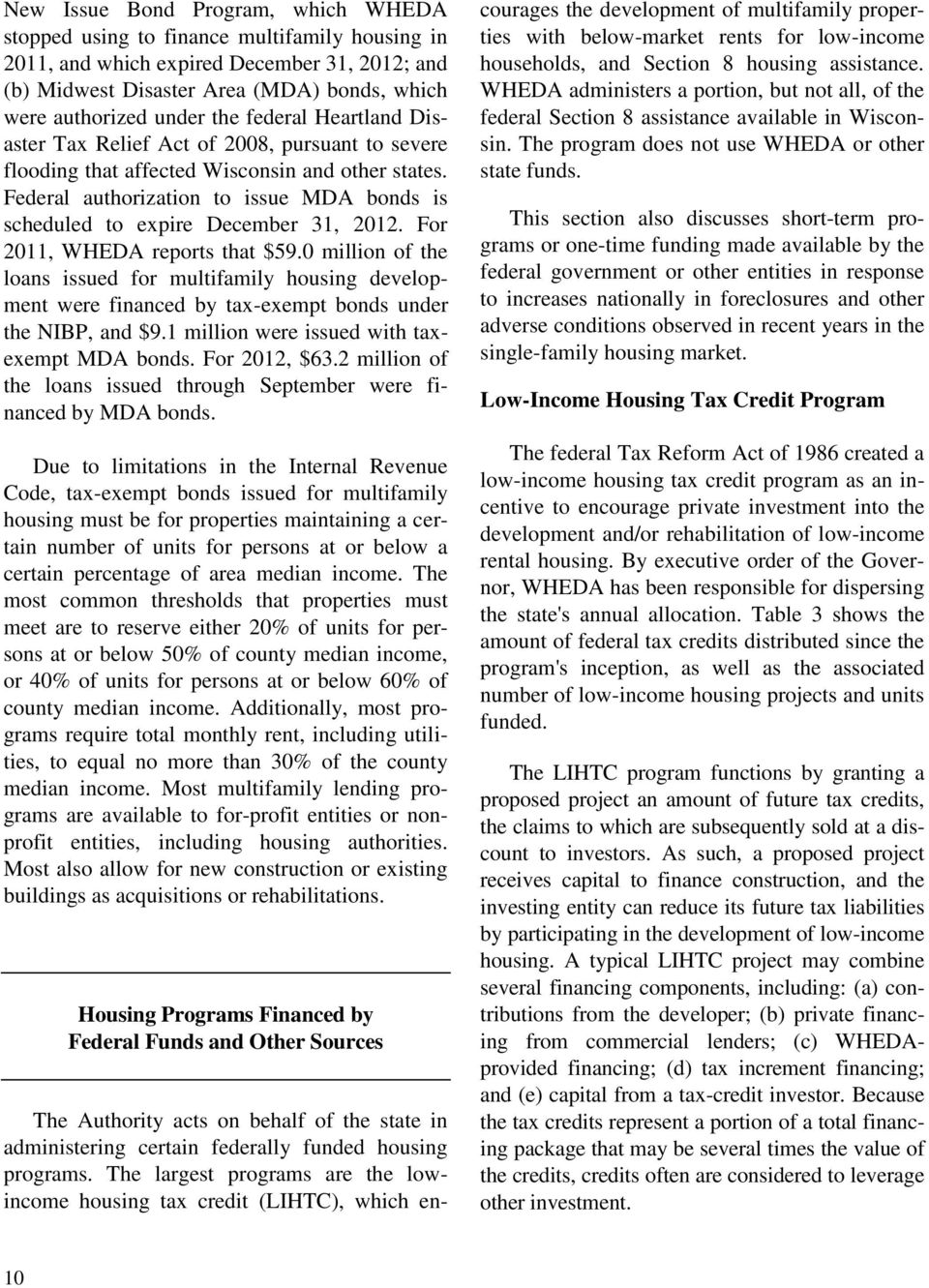 Federal authorization to issue MDA bonds is scheduled to expire December 31, 2012. For 2011, WHEDA reports that $59.