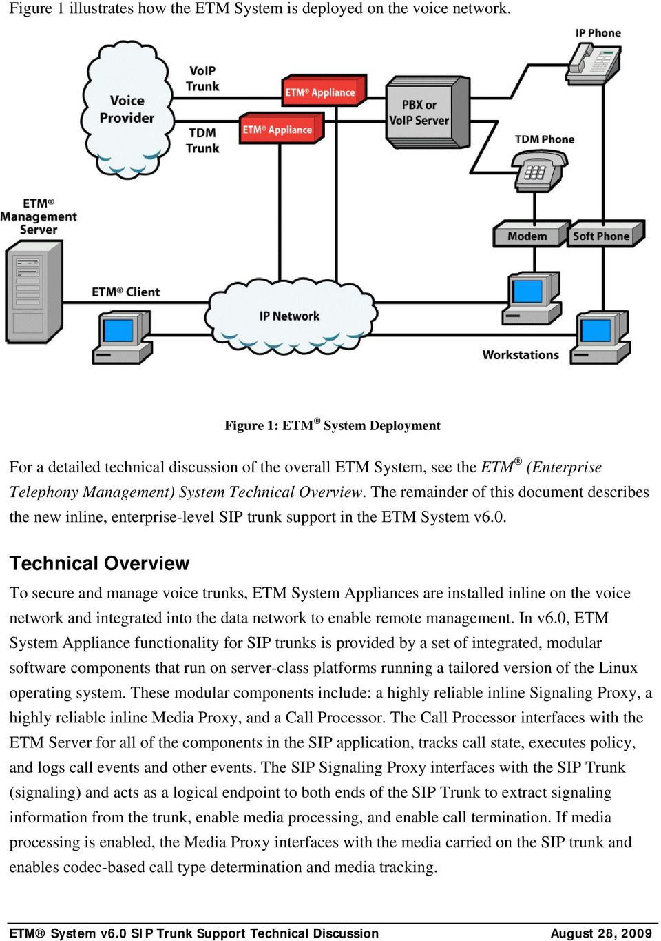 The remainder of this document describes the new inline, enterprise-level SIP trunk support in the ETM System v6.0.