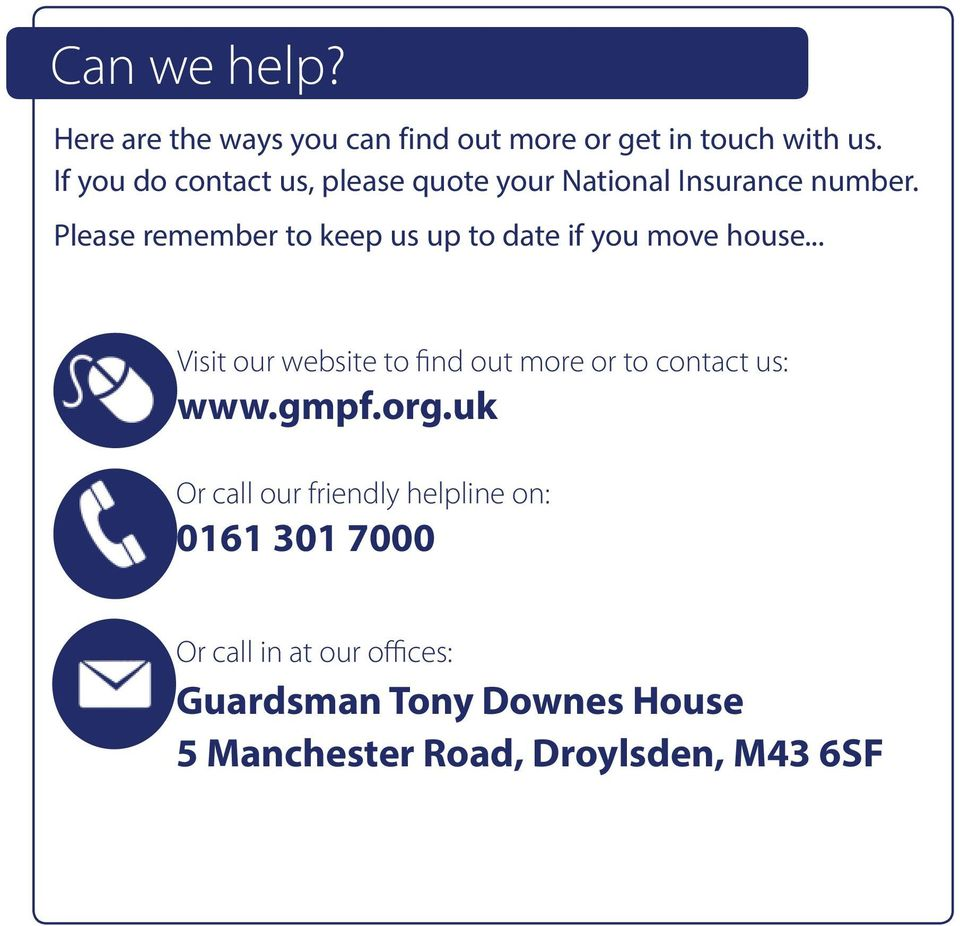 Please remember to keep us up to date if you move house.