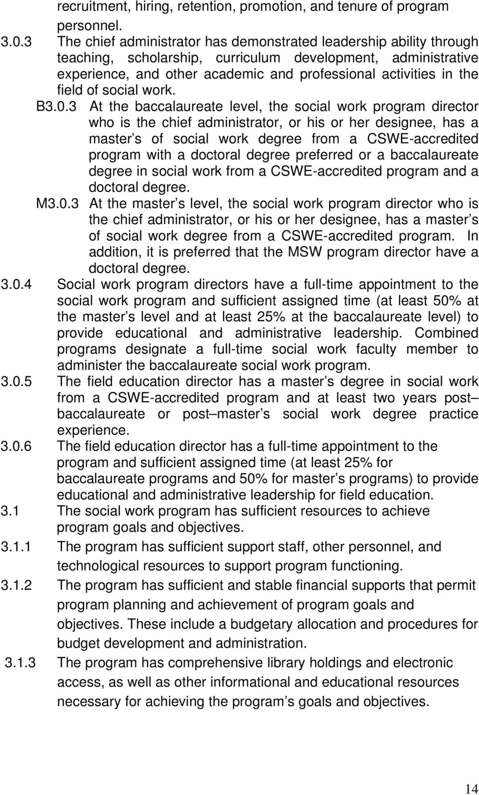 field of social work. B3.0.