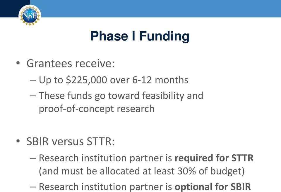 STTR: Research institution partner is required for STTR (and must be