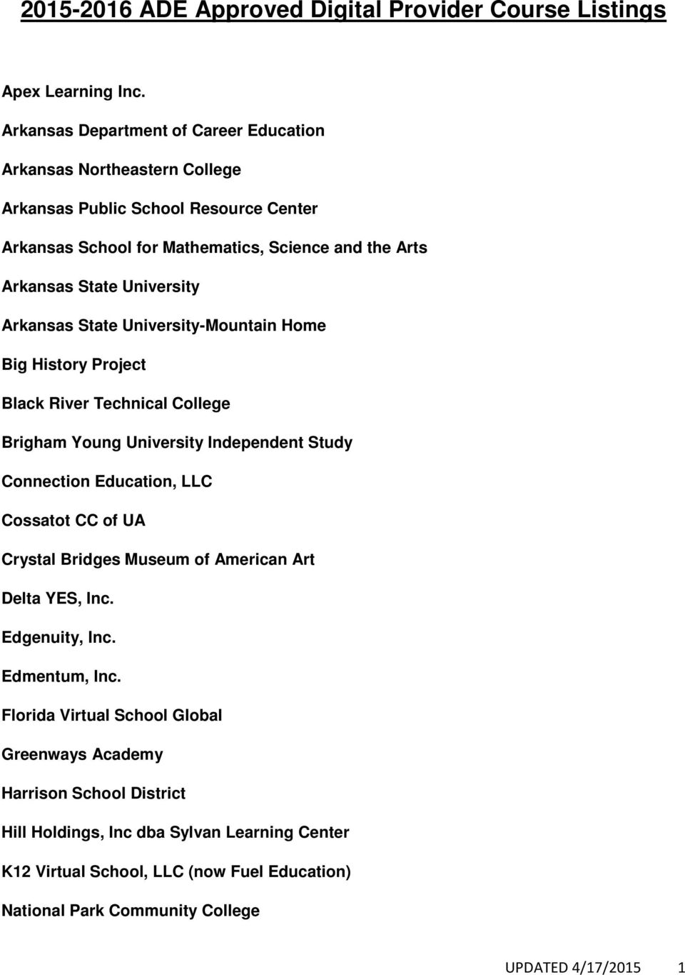 University Arkansas State University-Mountain Home Big History Project Black River Technical College Brigham Young University Independent Study Connection Education, LLC Cossatot CC of