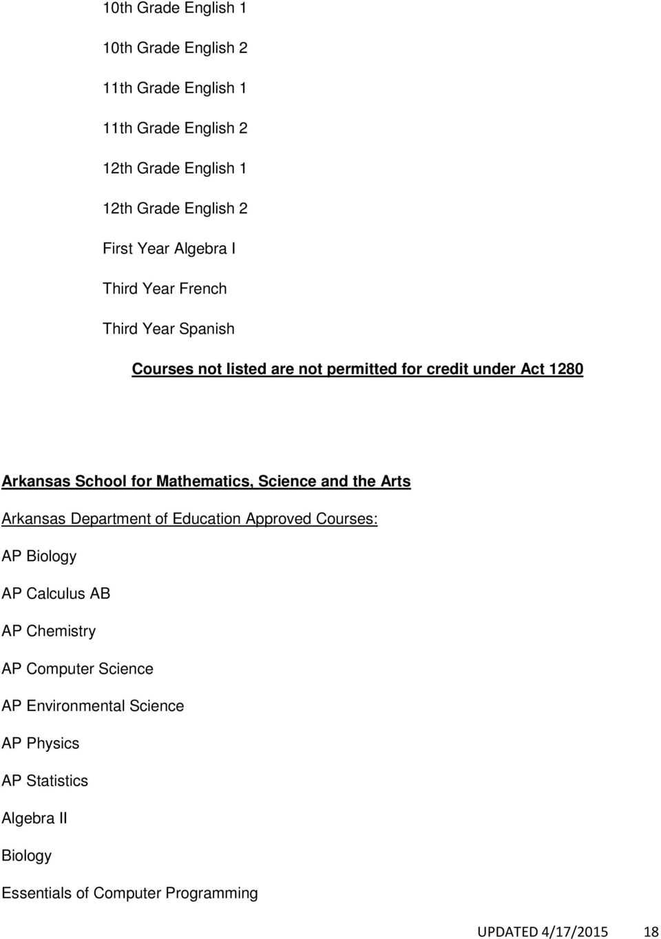 Mathematics, Science and the Arts AP Biology AP Calculus AB AP Chemistry AP Computer Science AP