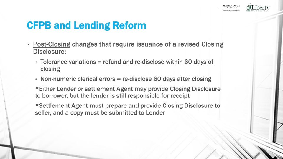 closing *Either Lender or settlement Agent may provide Closing Disclosure to borrower, but the lender is still