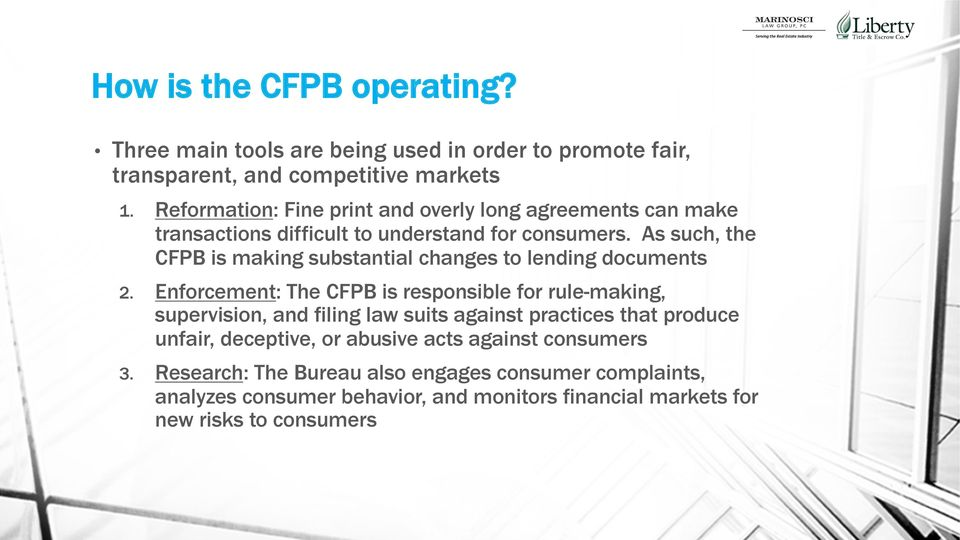As such, the CFPB is making substantial changes to lending documents 2.