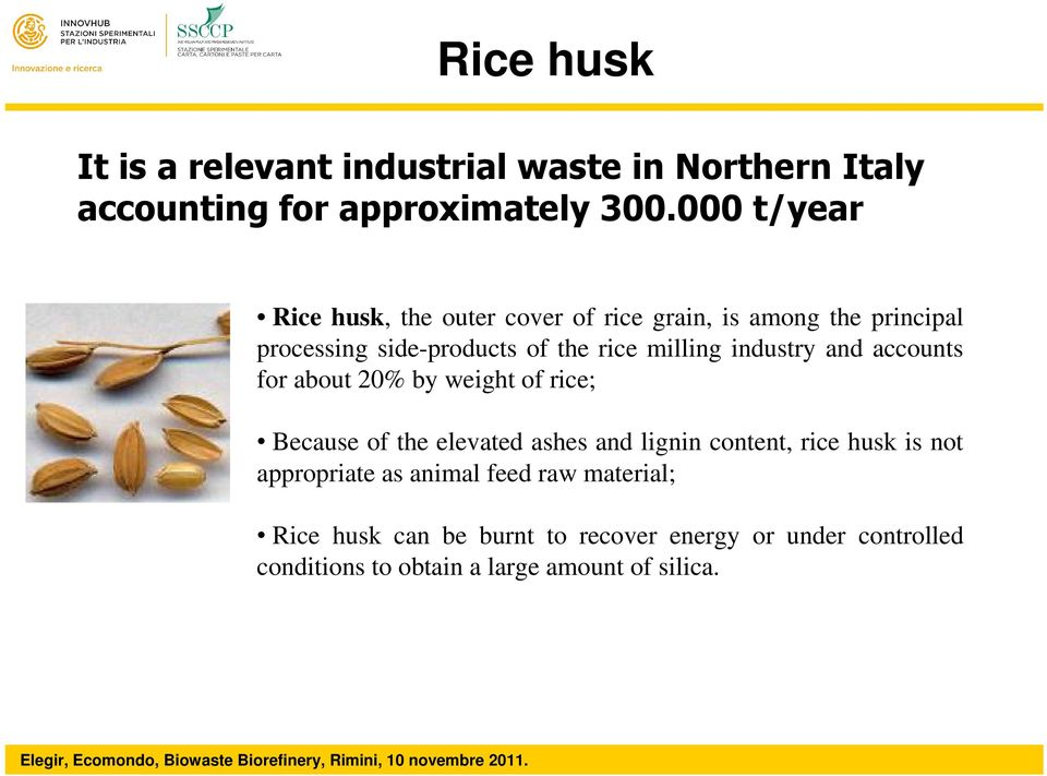 industry and accounts for about 20% by weight of rice; Because of the elevated ashes and lignin content, rice husk is not