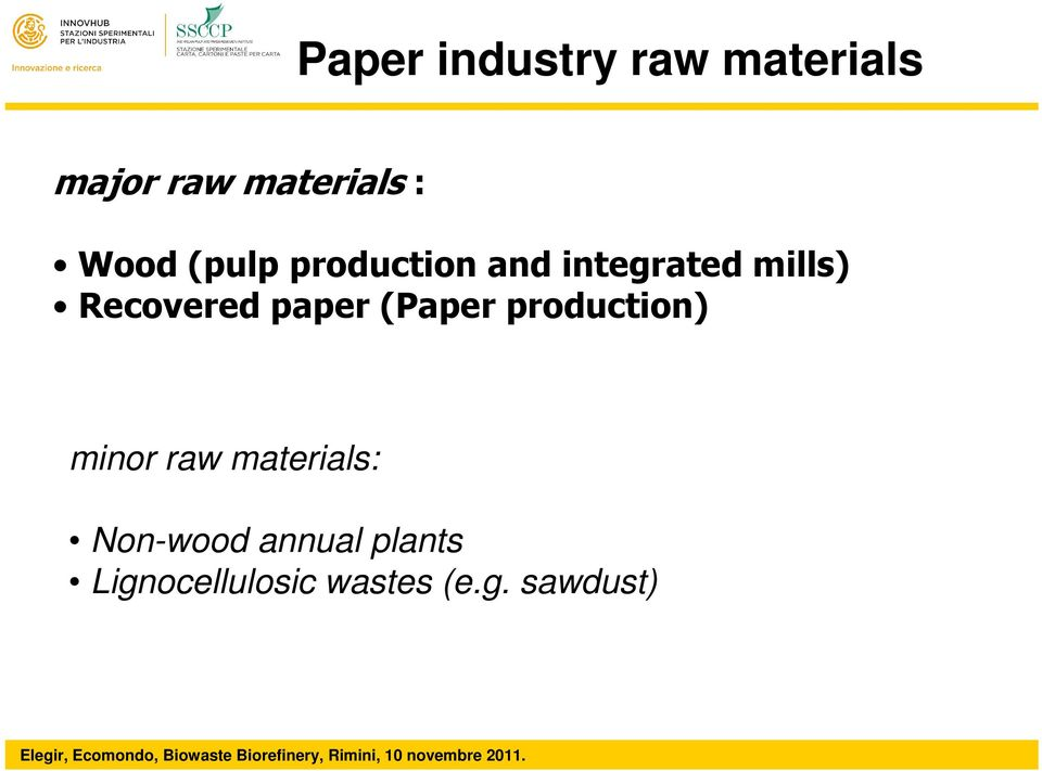 Recovered paper (Paper production) minor raw