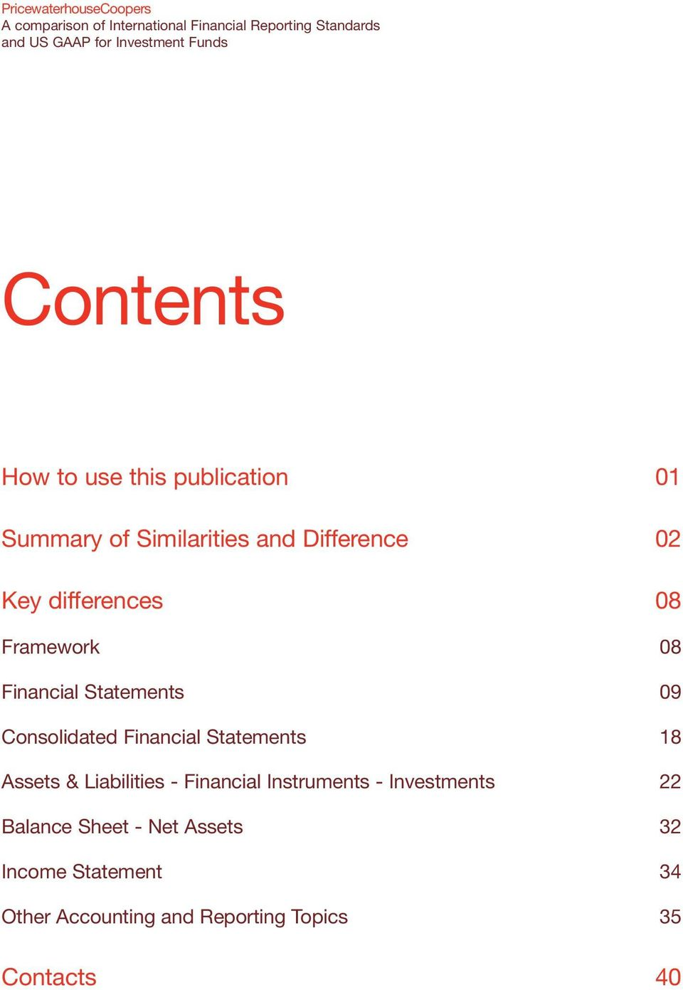 Statements 18 Assets & Liabilities - Financial Instruments - Investments 22 Balance