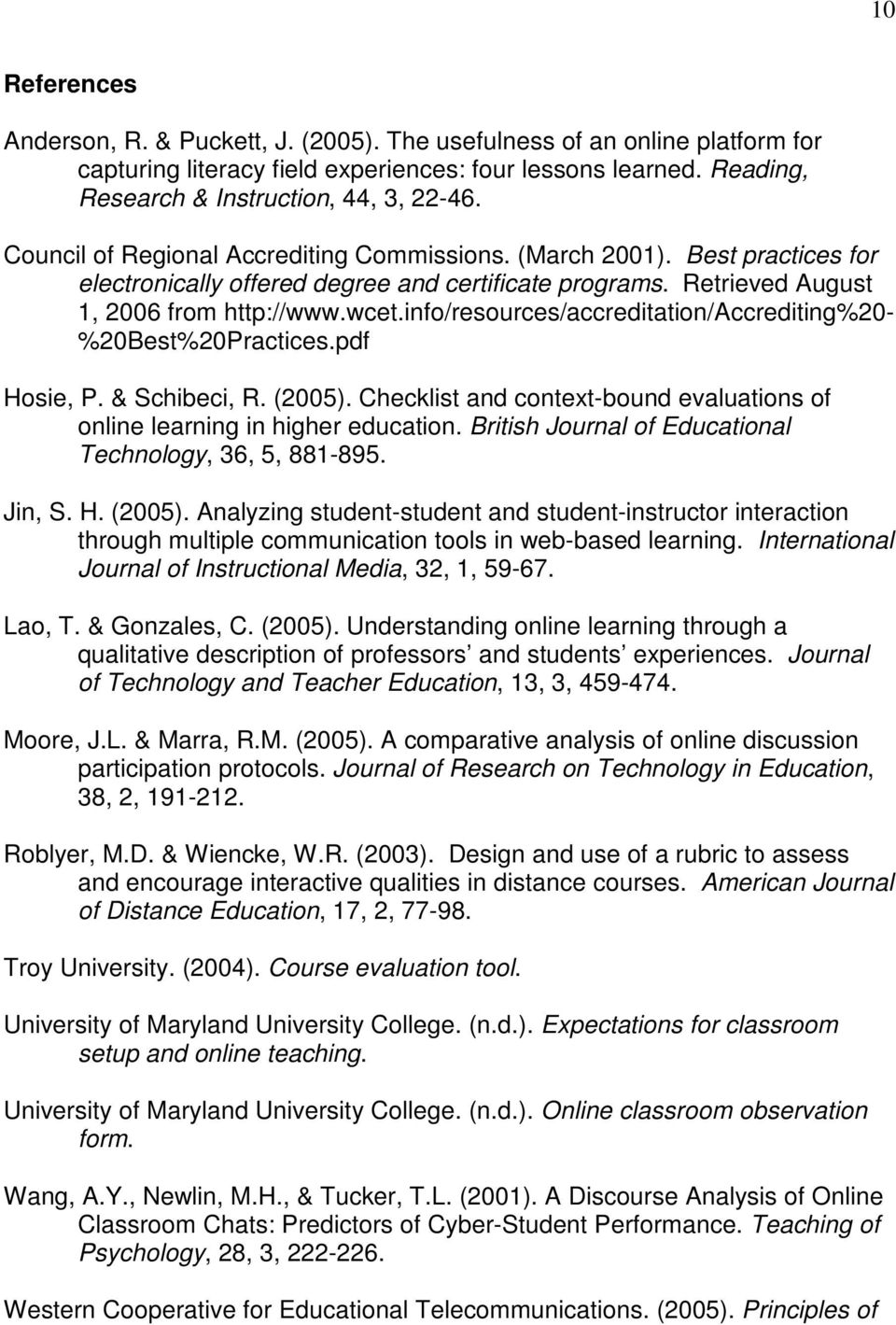 info/resources/accreditation/accrediting%20- %20Best%20Practices.pdf Hosie, P. & Schibeci, R. (2005). Checklist and context-bound evaluations of online learning in higher education.