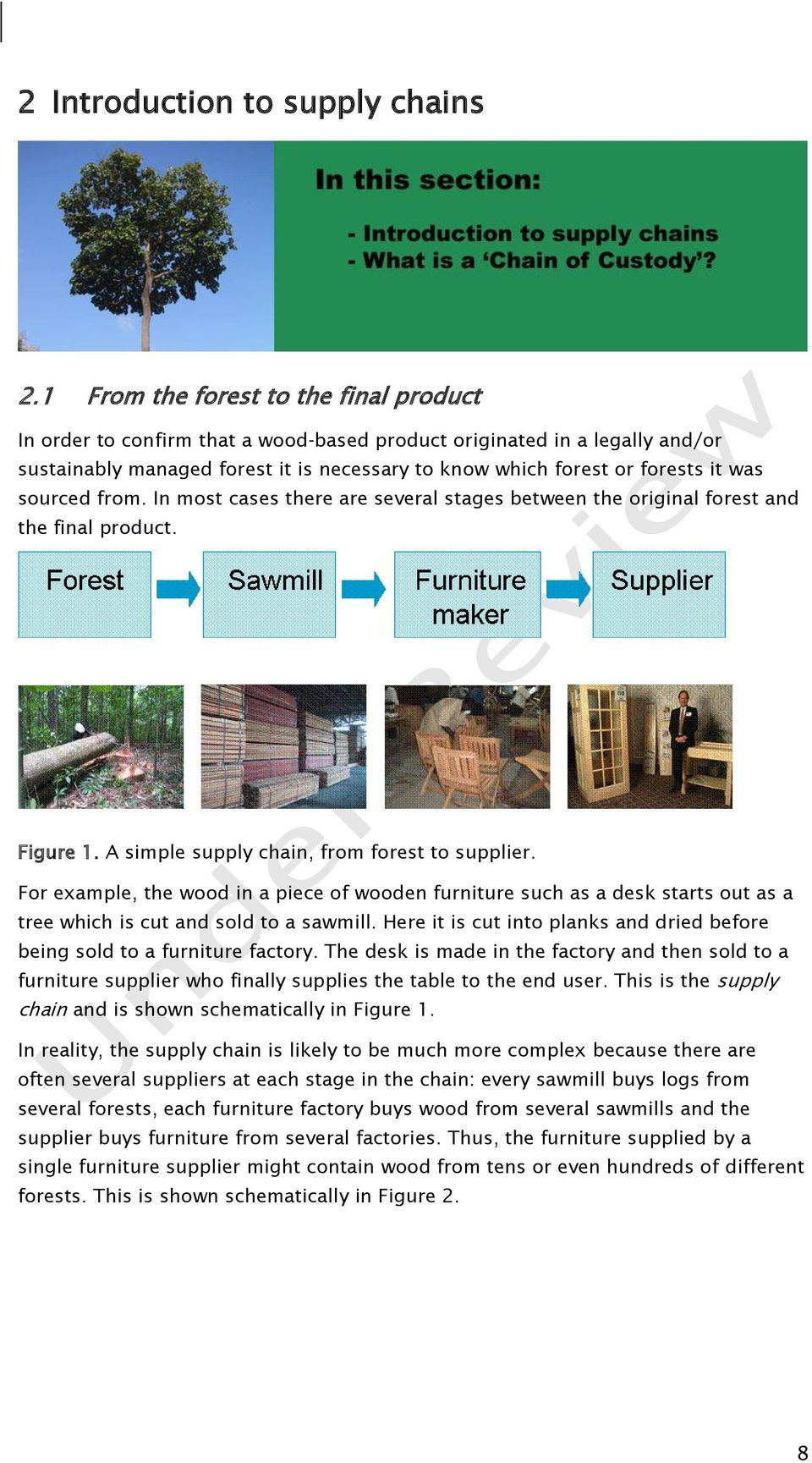 sourced from. In most cases there are several stages between the original forest and the final product. Figure 1. A simple supply chain, from forest to supplier.