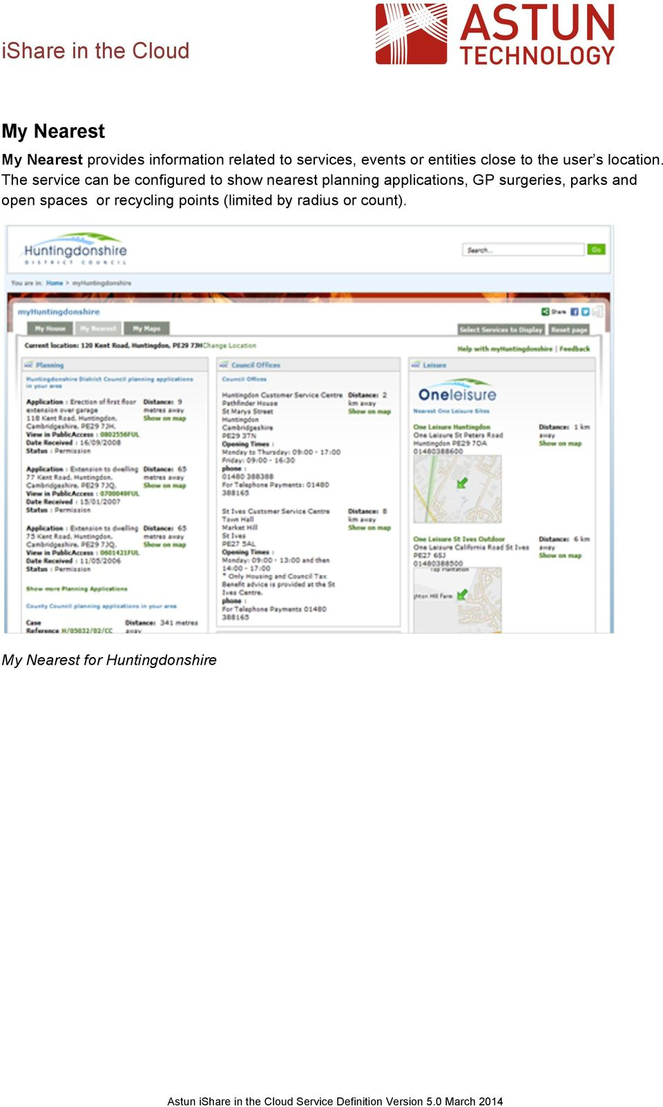 The service can be configured to show nearest planning applications, GP