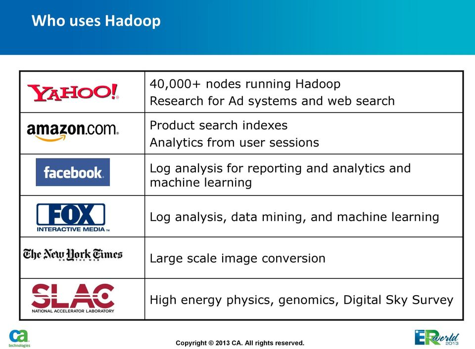 reporting and analytics and machine learning Log analysis, data mining, and