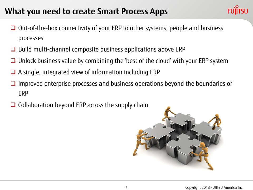 cloud with your ERP system A single, integrated view of information including ERP Improved enterprise processes and