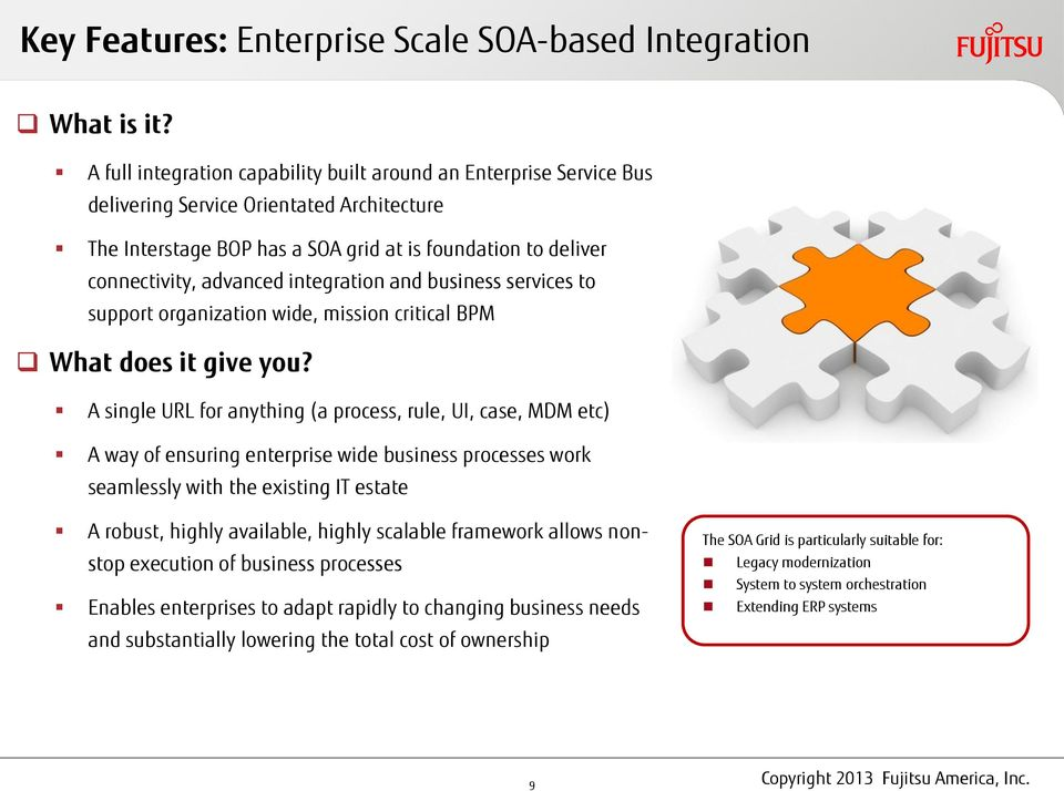 integration and business services to support organization wide, mission critical BPM What does it give you?