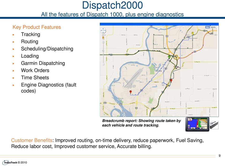 Breadcrumb report: Showing route taken by each vehicle and route tracking.