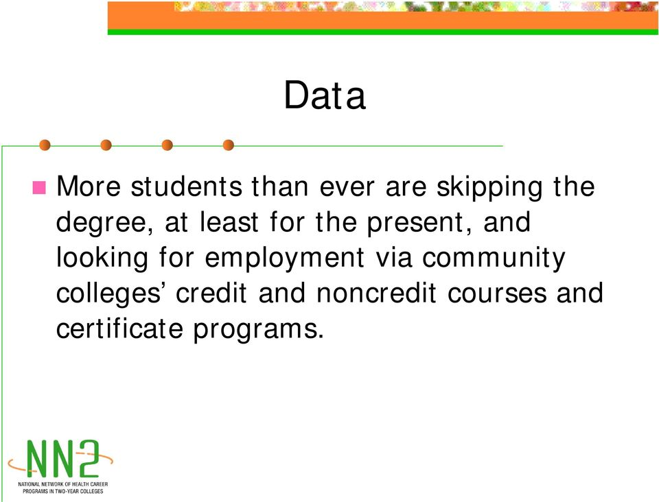 for employment via community colleges credit