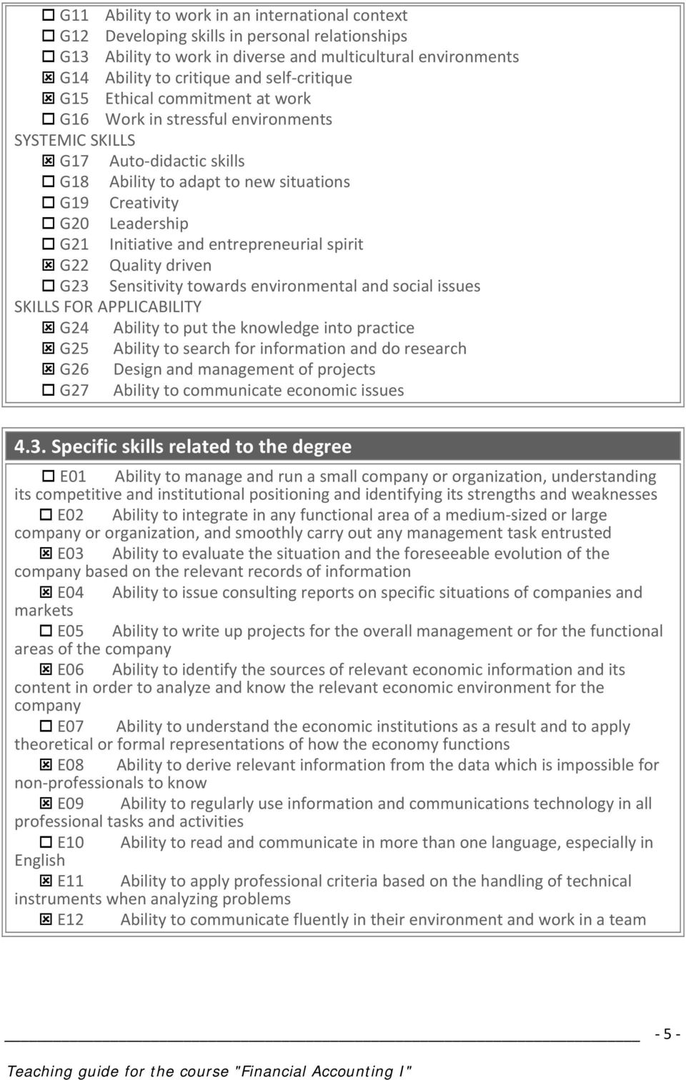 entrepreneurial spirit G22 Quality driven G23 Sensitivity towards environmental and social issues SKILLS FOR APPLICABILITY G24 Ability to put the knowledge into practice G25 Ability to search for