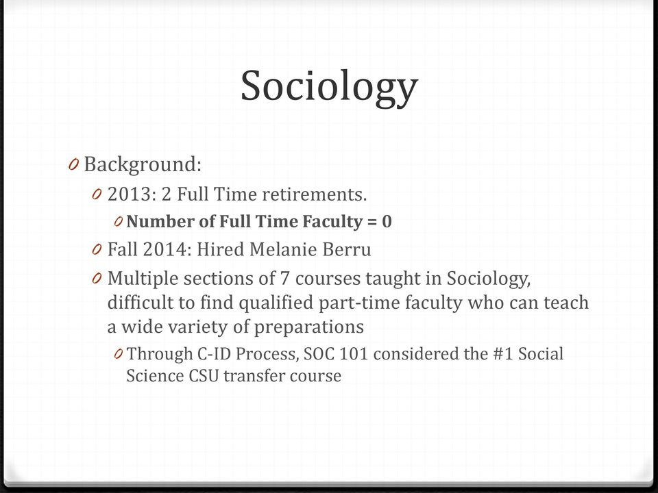 of 7 courses taught in Sociology, difficult to find qualified part-time faculty who can