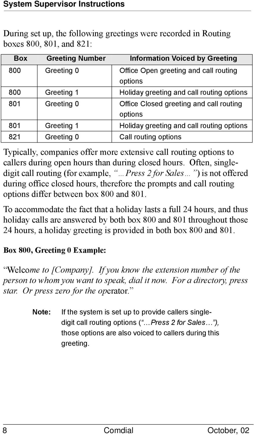 routing options 821 Greeting 0 Call routing options Typically, companies offer more extensive call routing options to callers during open hours than during closed hours.