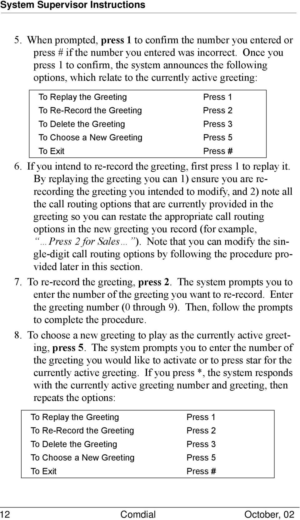 Greeting Press 3 To Choose a New Greeting Press 5 6. If you intend to re-record the greeting, first press 1 to replay it.