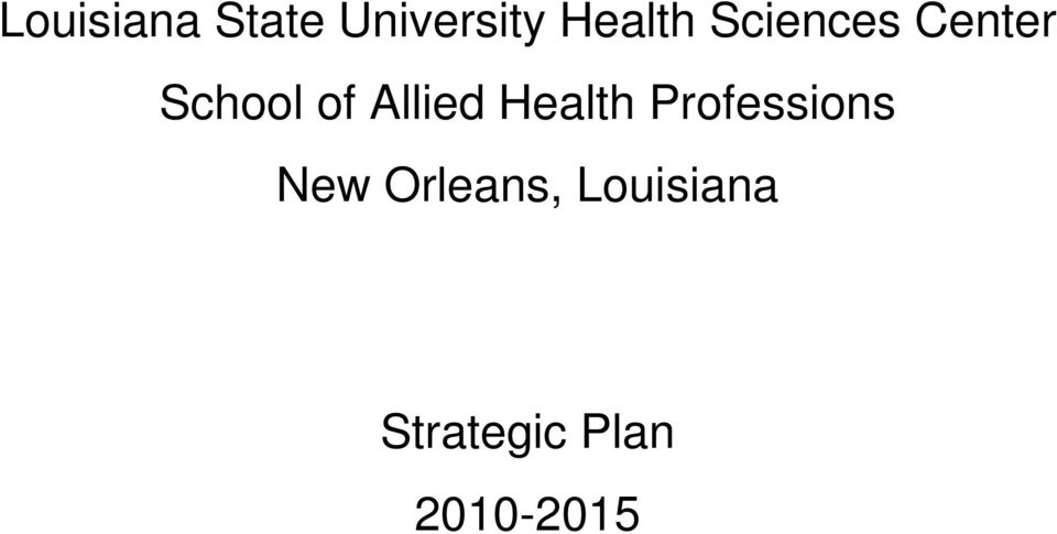 Health Professions New Orleans,