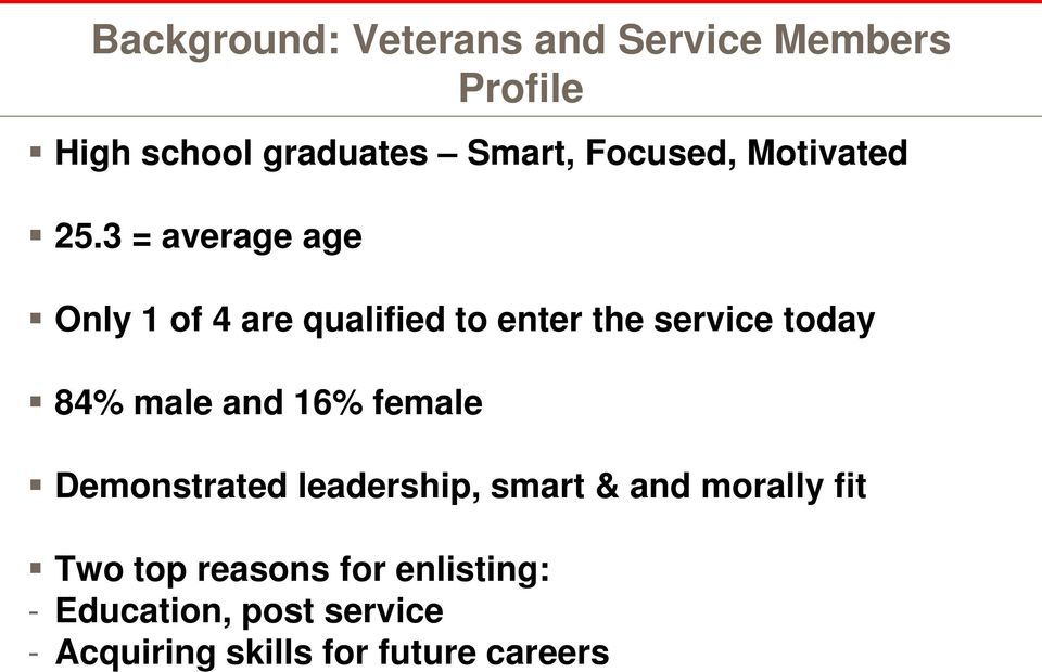3 = average age Only 1 of 4 are qualified to enter the service today 84% male and
