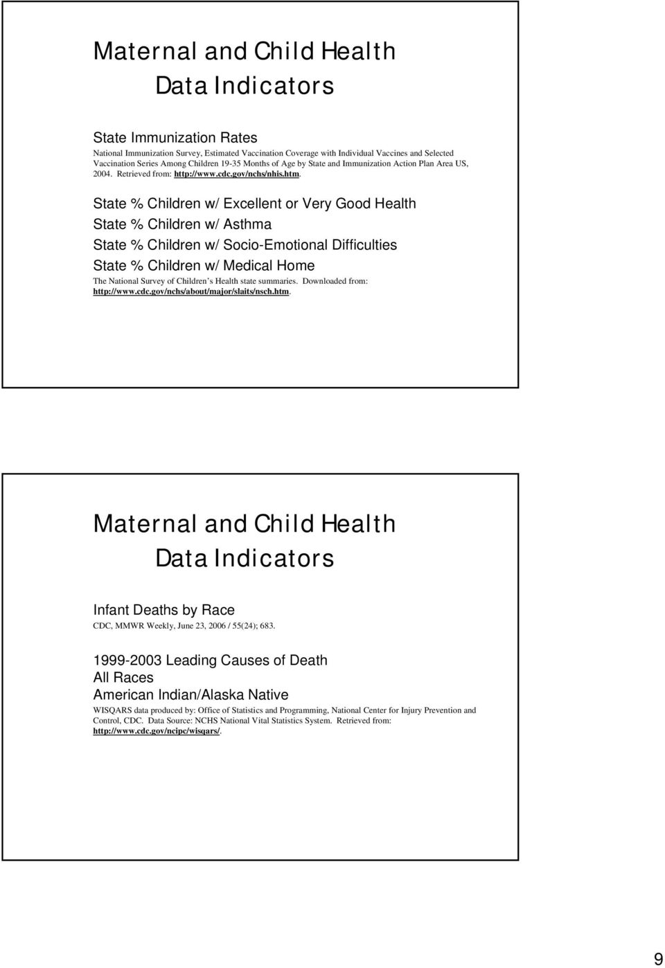 State % Children w/ Excellent or Very Good Health State % Children w/ Asthma State % Children w/ Socio-Emotional Difficulties State % Children w/ Medical Home The National Survey of Children s Health