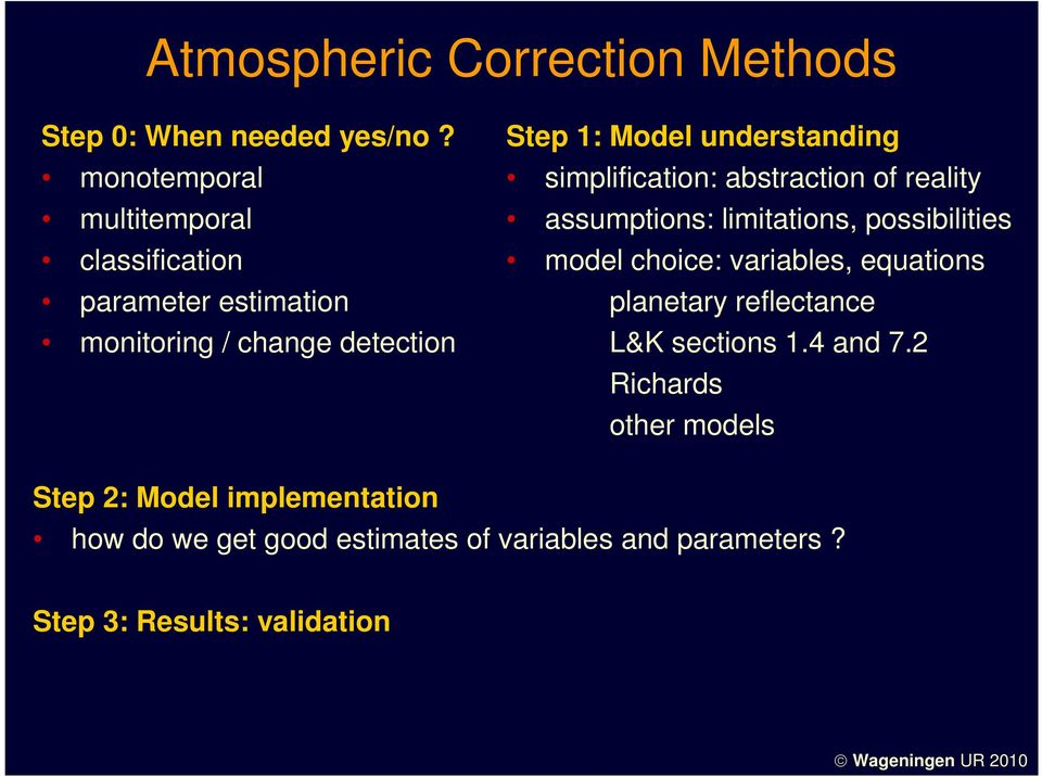 understanding simplification: abstraction of reality assumptions: limitations, possibilities model choice: variables,
