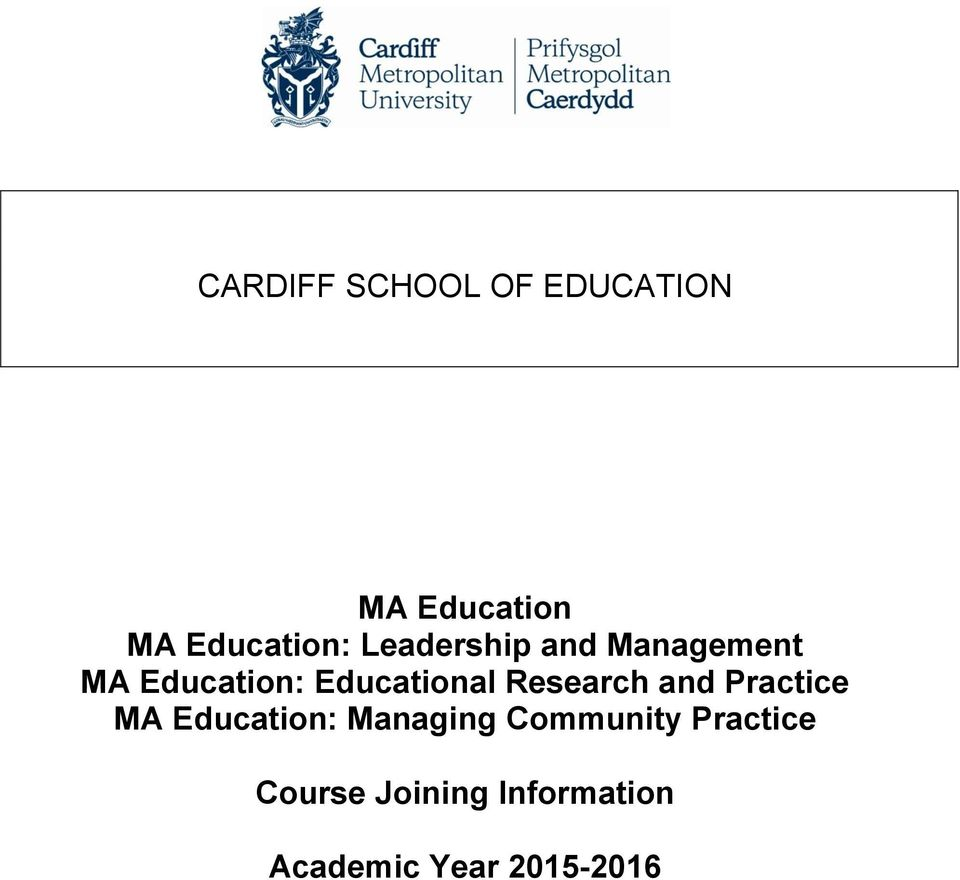 Research and Practice MA Education: Managing Community