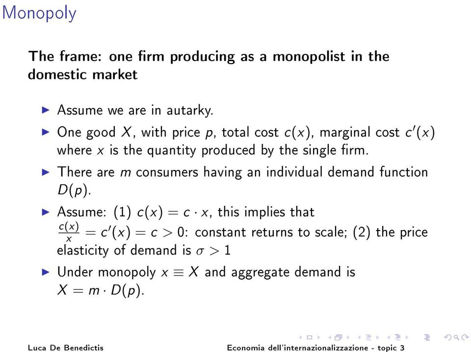 There are m consumers having an individual demand function D(p).