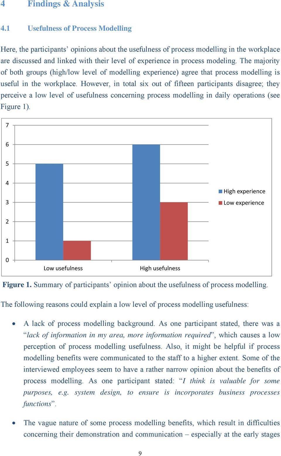 modeling. The majority of both groups (high/low level of modelling experience) agree that process modelling is useful in the workplace.