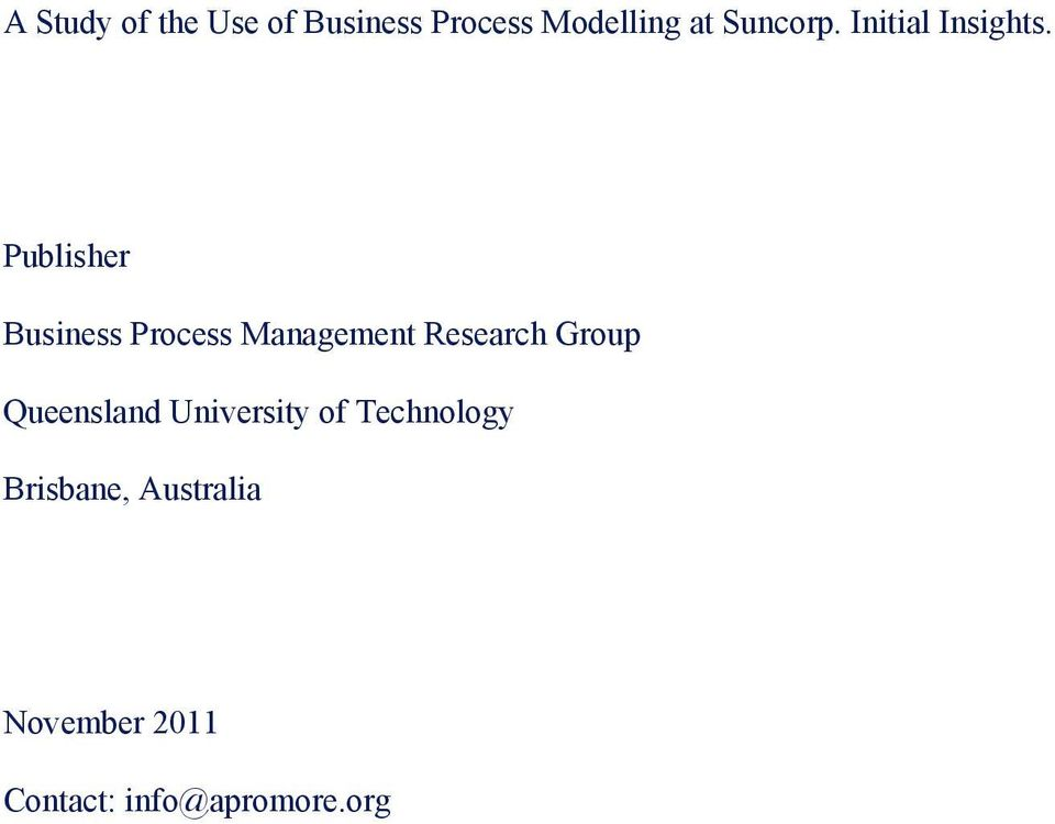 Publisher Business Process Management Research Group