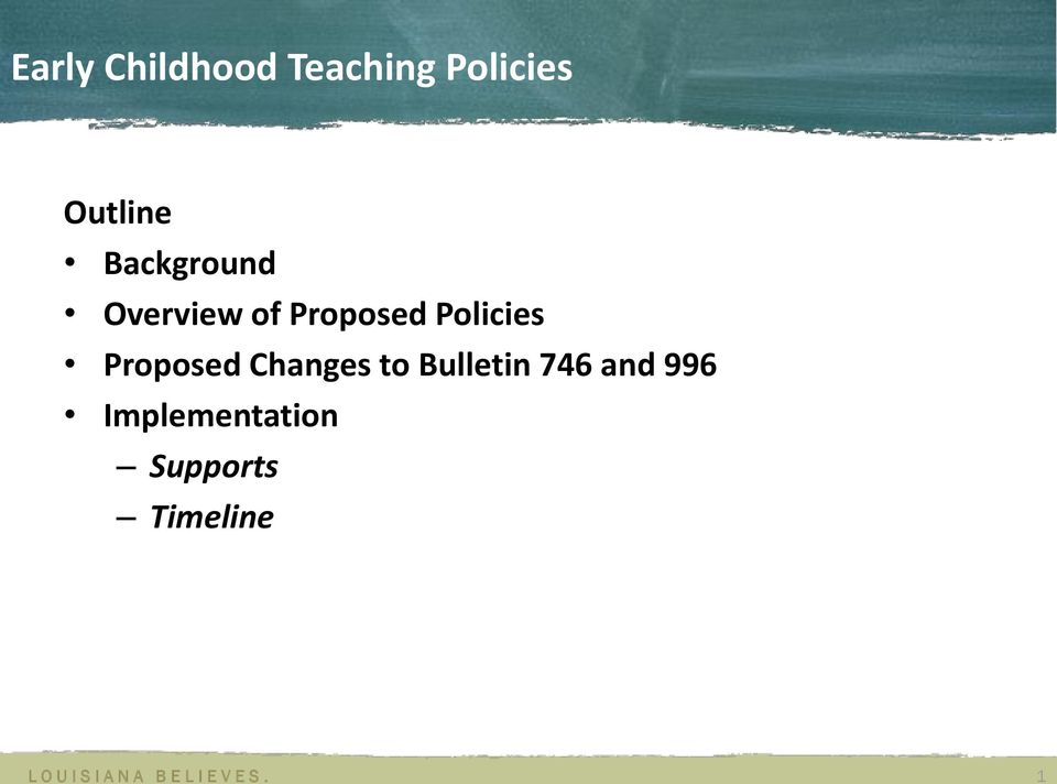 Policies Proposed Changes to Bulletin